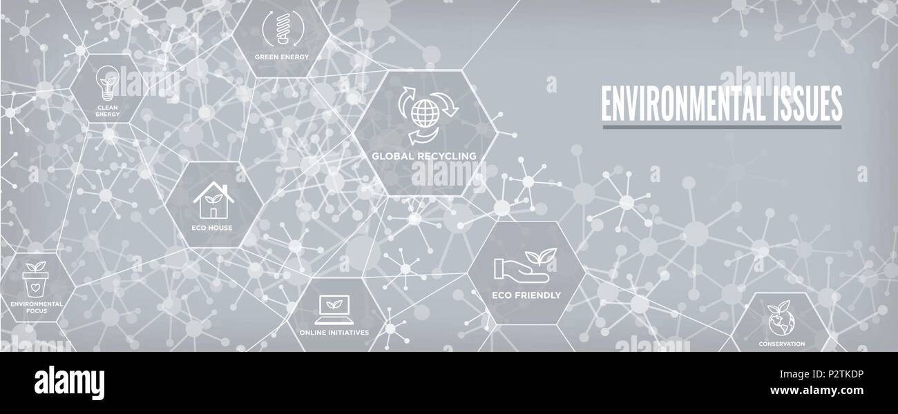 Environmental issues header web banner w recycling, etc icon set - Stock Vector