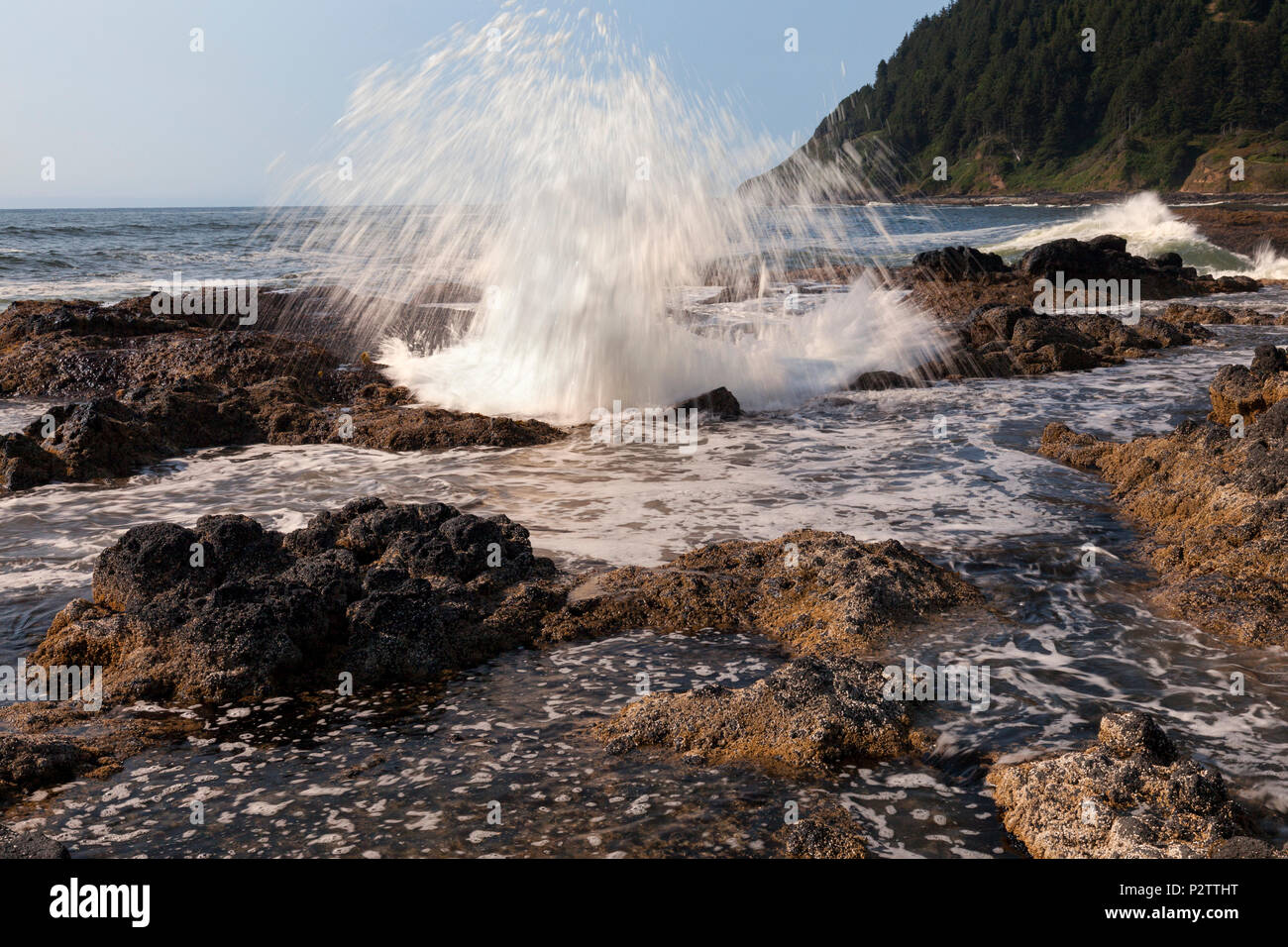 Water surges from Thor's Well at Cape Perpetua Scenic Area along Oregon's Central Coast south of Yachats. - Stock Image