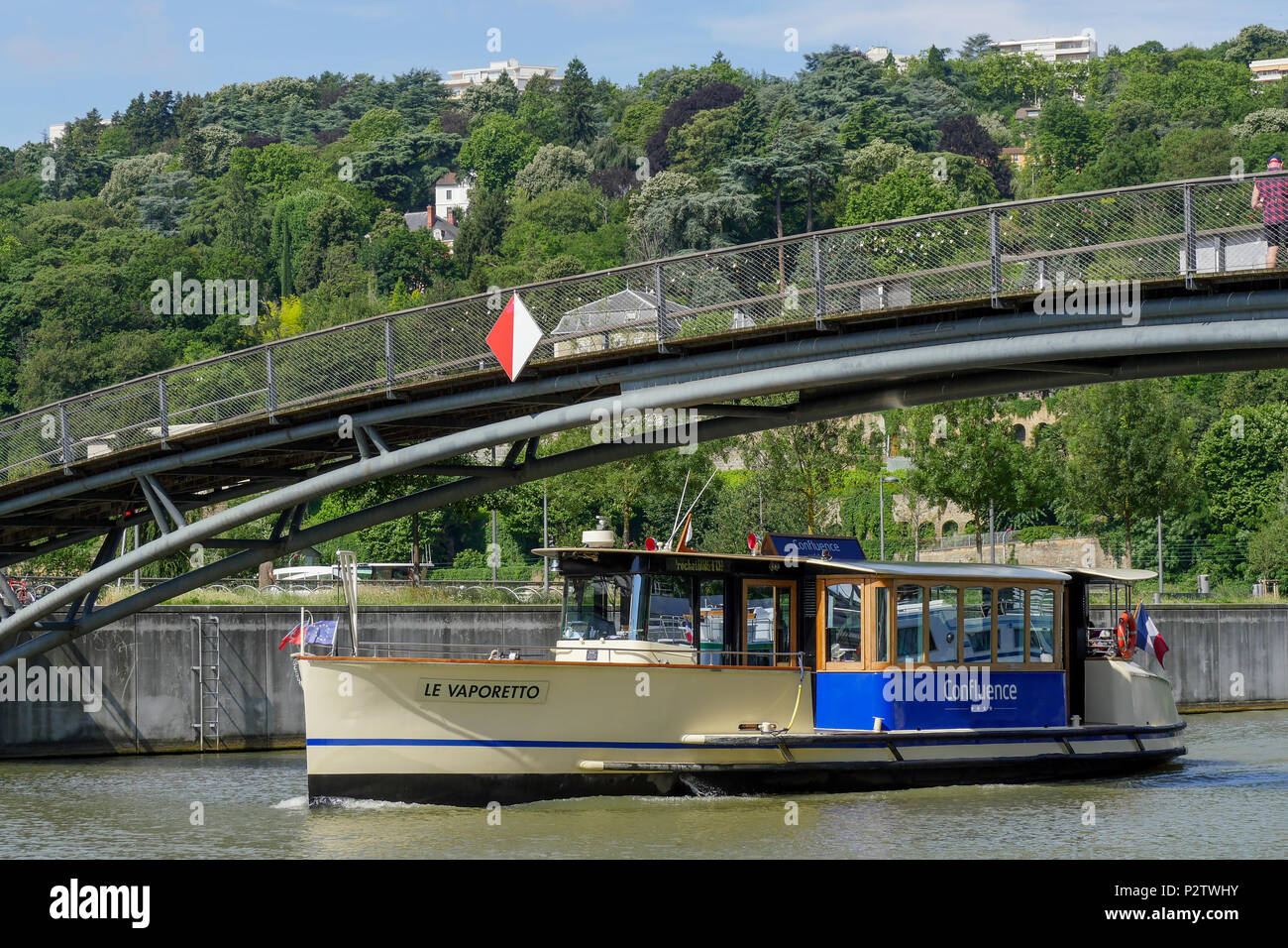 Vaporetto river boat, Confluence district, Lyon, France - Stock Image