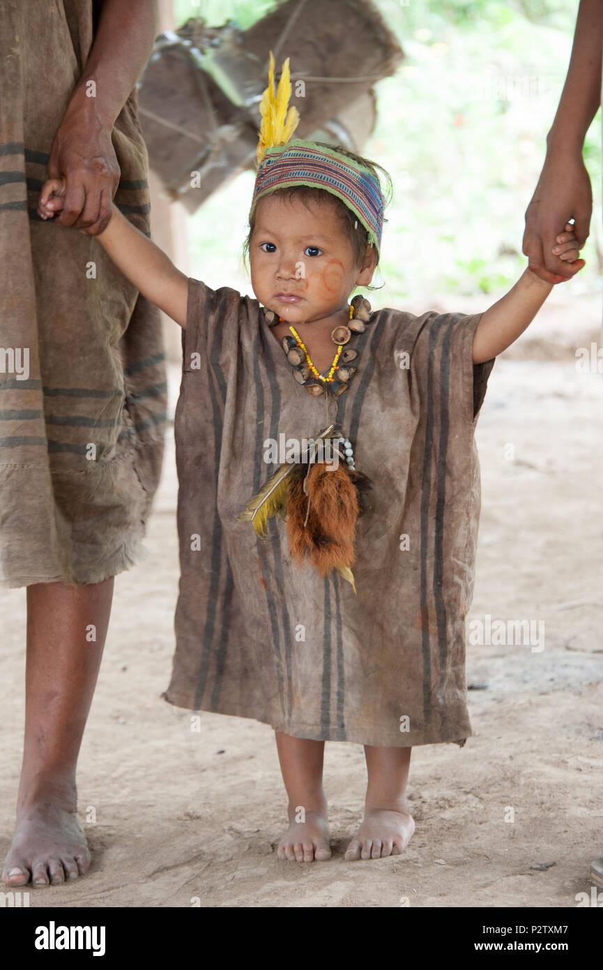 People living in an amazon village, Puerto Maldonado, Peru - Stock Image