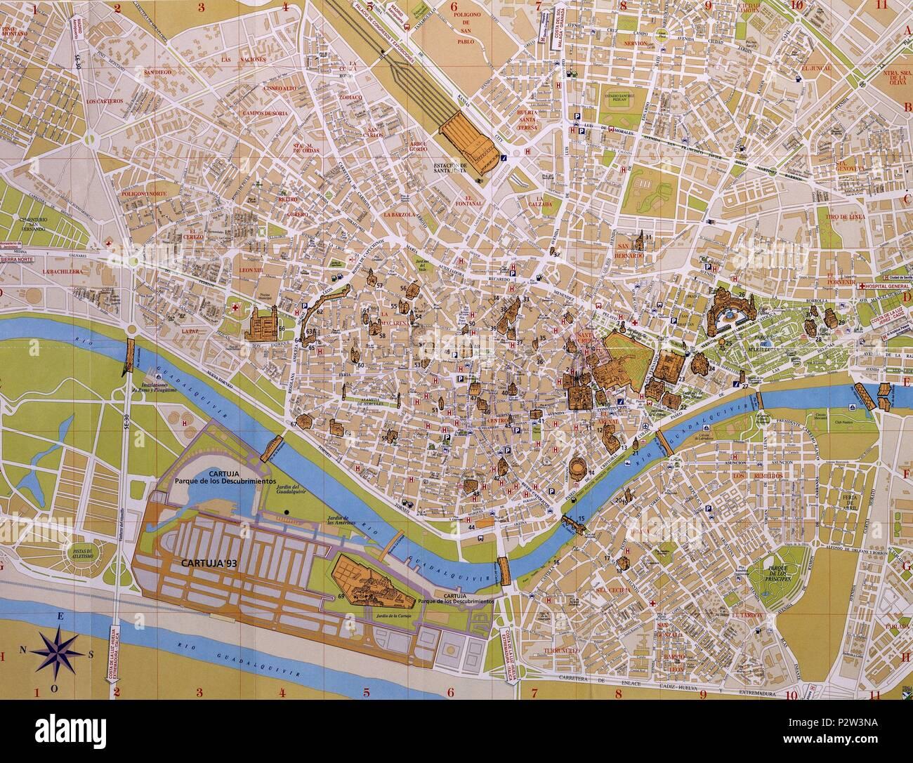Plano Turistico De La Ciudad De Sevilla Stock Photo 208305478 Alamy