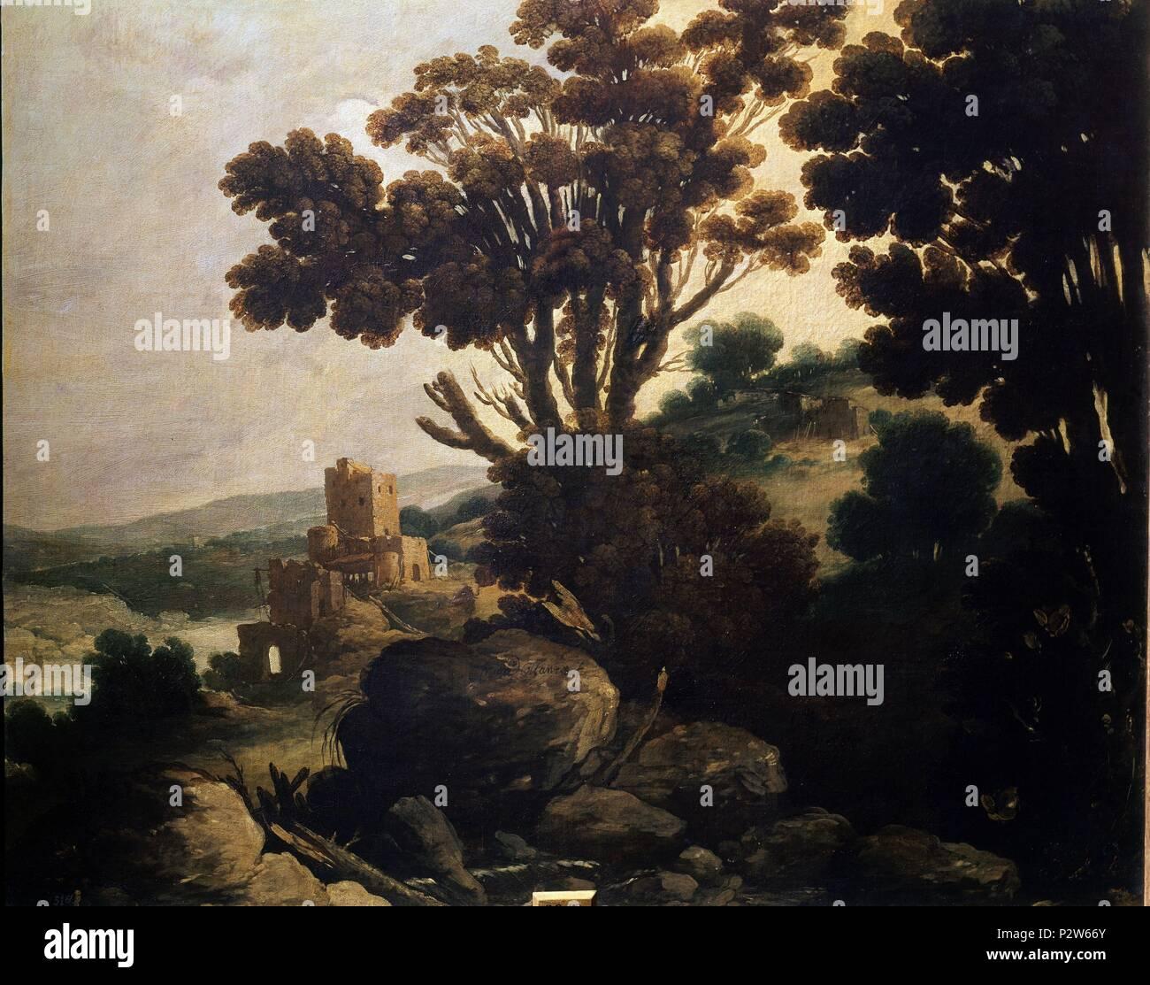'Landscape', 17th century, Oil on canvas, 75 x 92 cm, Spanish Baroque. Author: Francisco Collantes (1599-1656). Location: MUSEO DEL PRADO-PINTURA, MADRID, SPAIN. - Stock Image