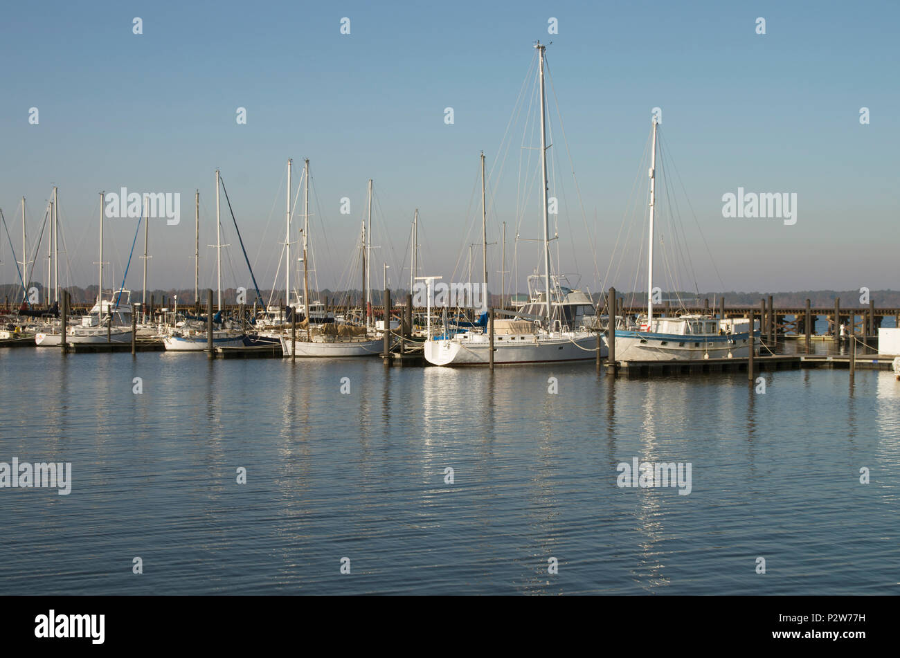 Boats are moored at the Bridgeton Marina on a sunny Sat. morning in November in Bridgeton ,North carolina - Stock Image