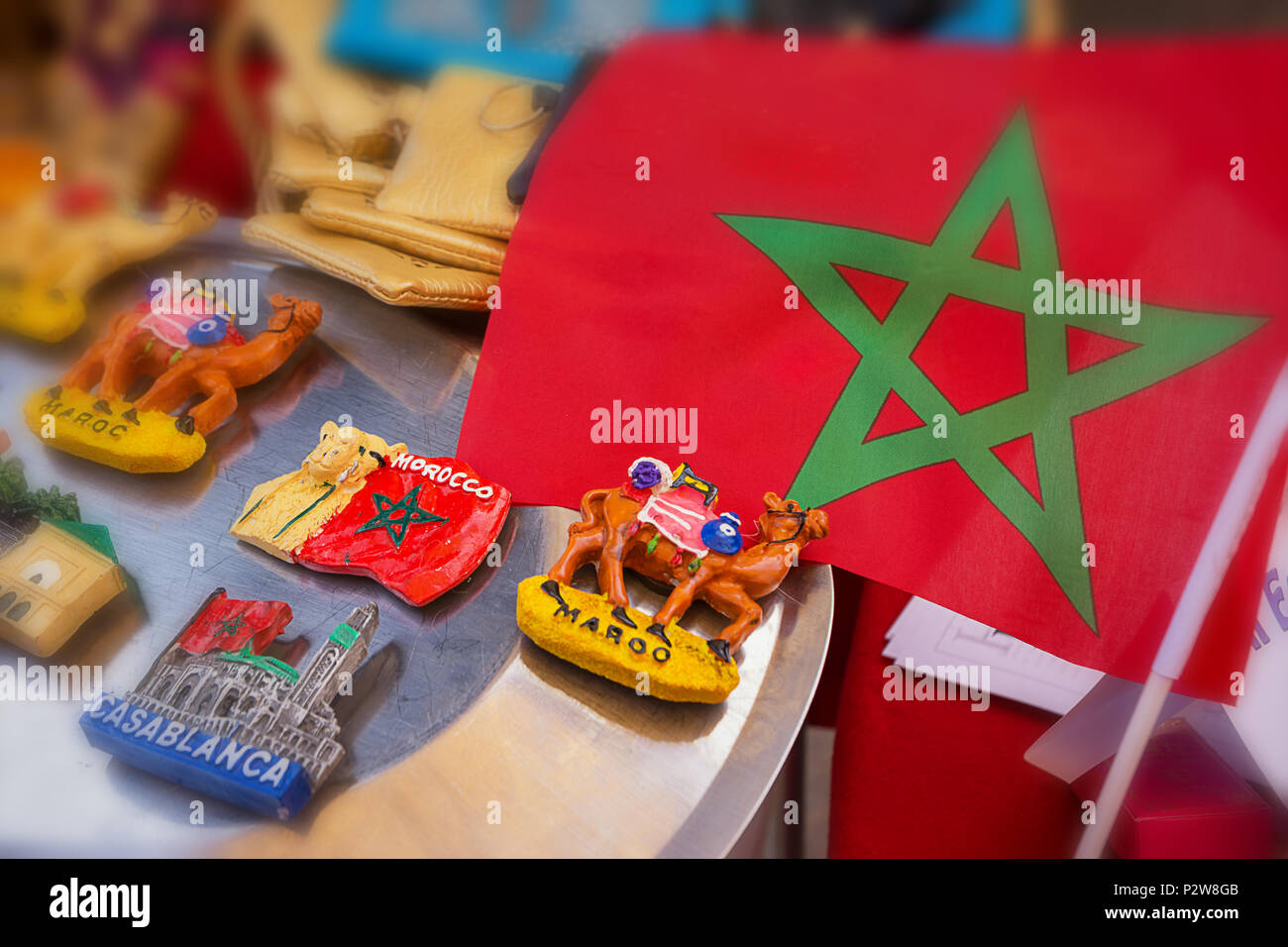 Souvenir Magnets With The Symbols Of Morocco In A Shop Stock Photo