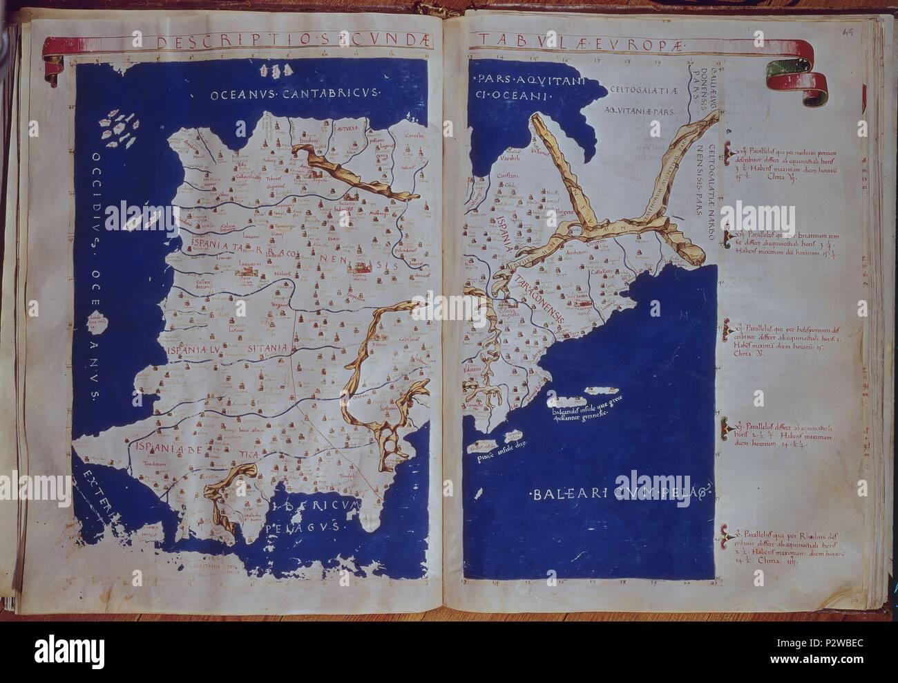Mapa España Siglo Xv.Mapa De La Peninsula Iberica Espana En El Siglo Ii