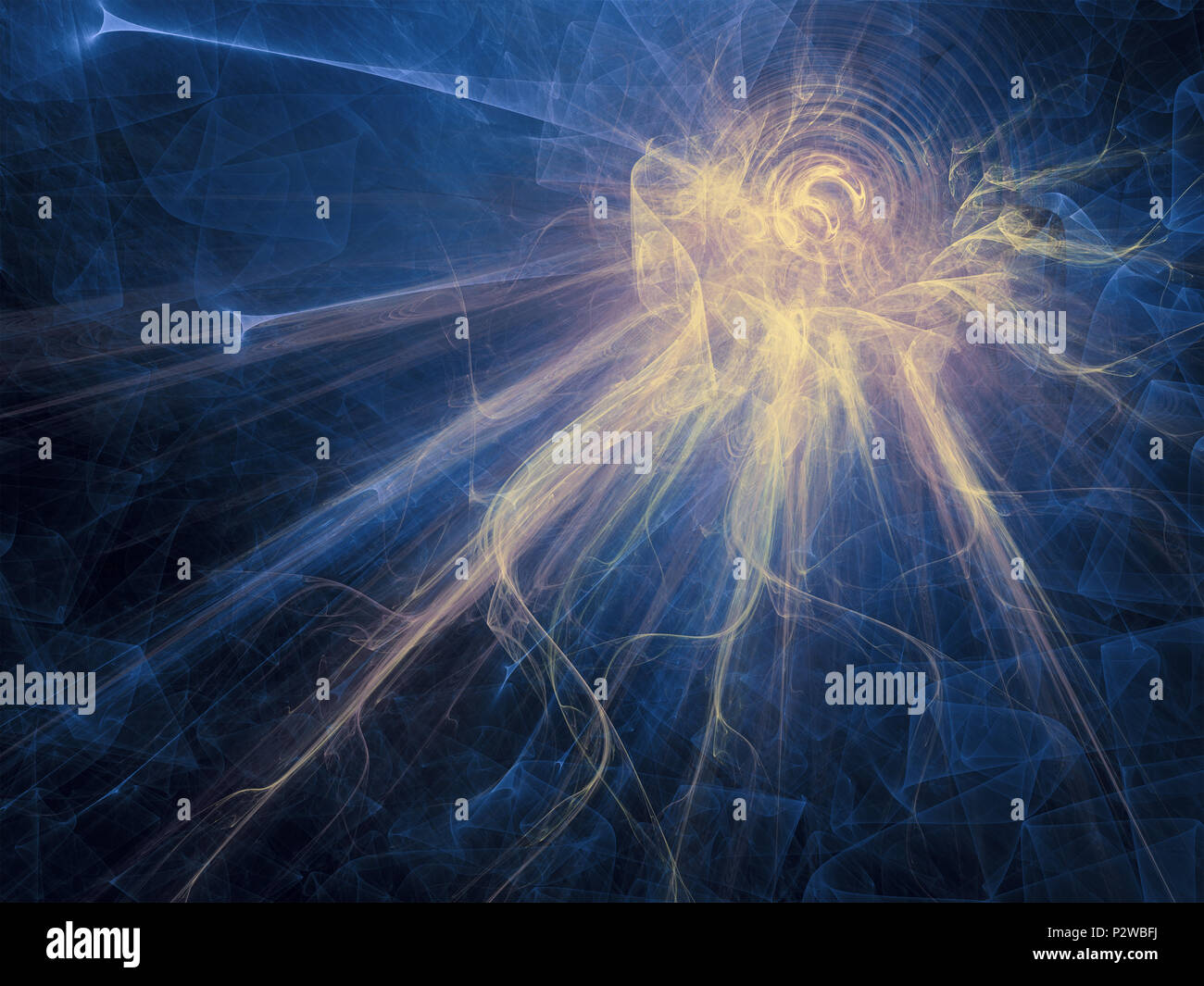 Drop of light. Pure energy concept. Explode of a solar ripple. Composite fractal background. - Stock Image