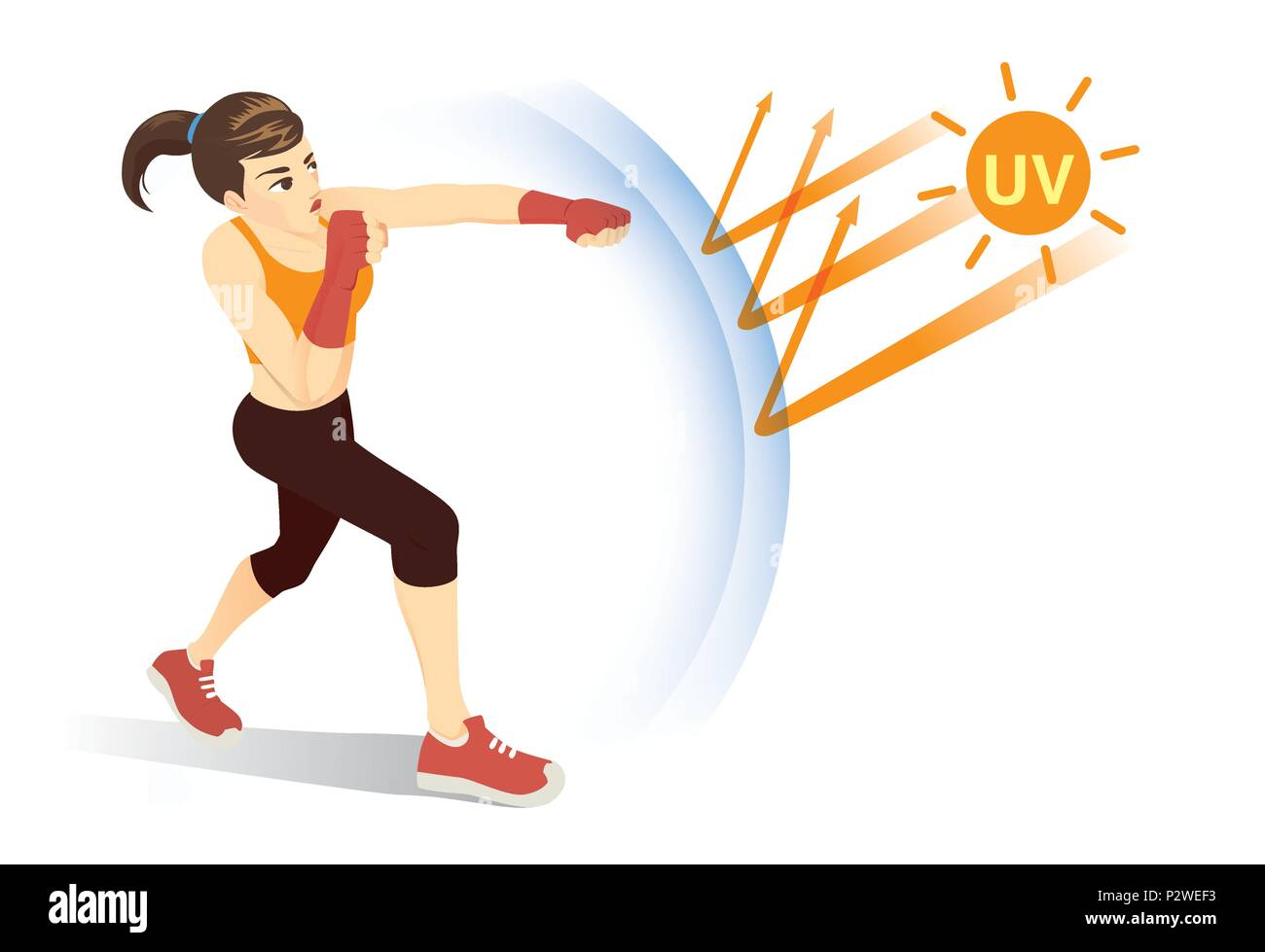 Healthy woman reflect UV ray from sunlight with punching. - Stock Vector
