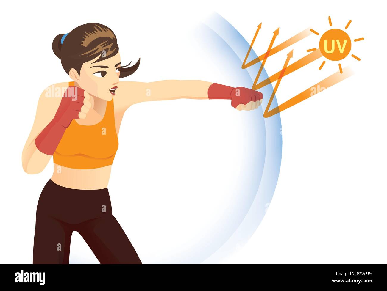 Woman protect skin with reflect UV ray from sunlight with punching. - Stock Vector