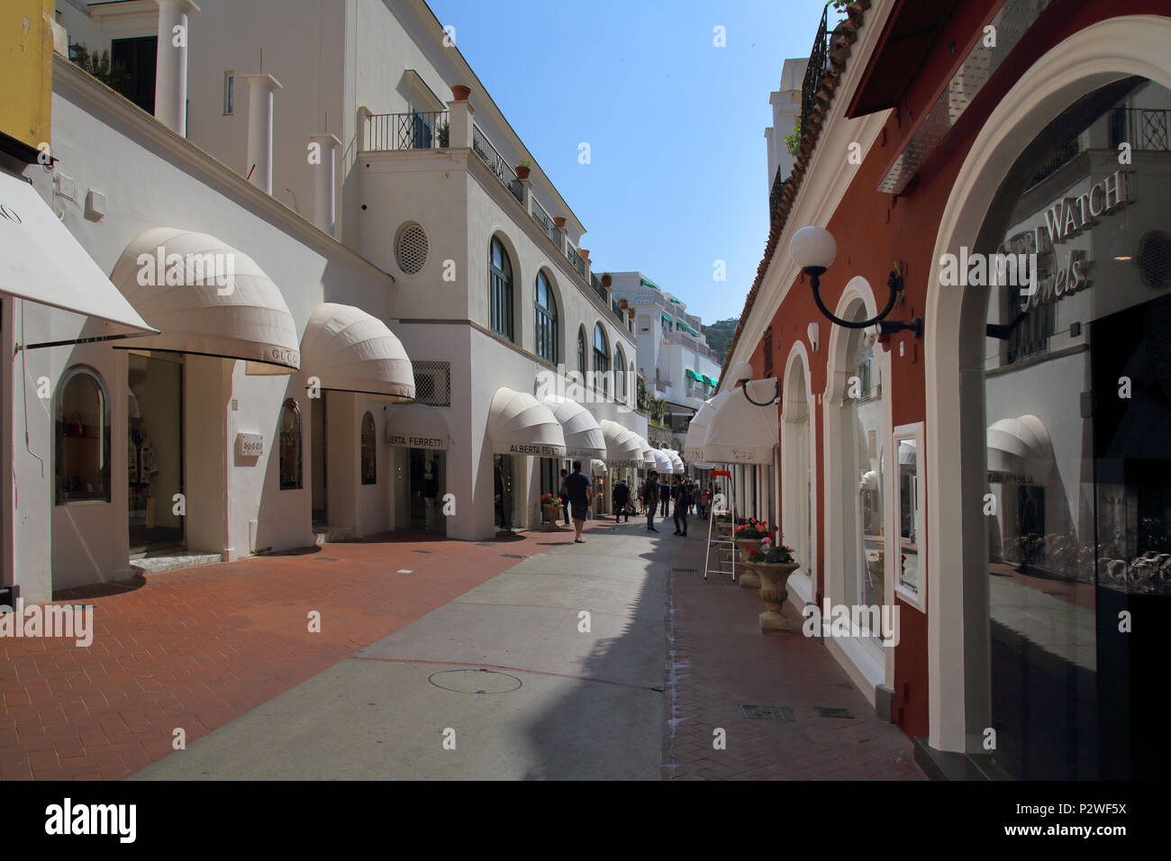 upmarket shops and shopping in capri town on the island of capri Italy - Stock Image