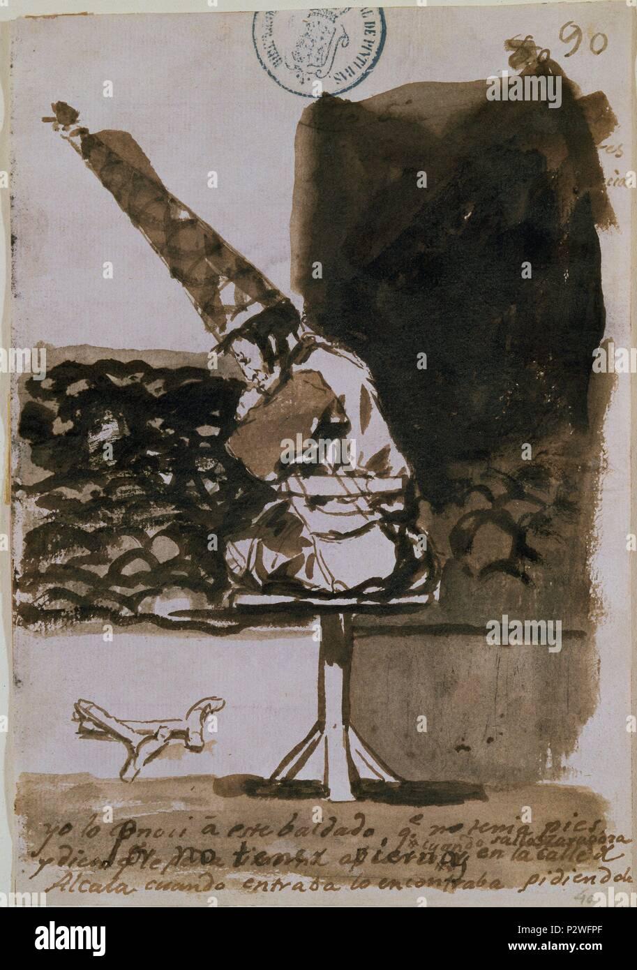 POR NO TENER PIERNAS.YO LO CONOCI - ALBUM C, 90 - HACIA 1810-1814 - PINCEL CON AGUADA SEPIA OSCURA Y GRIS - 205x144 mm. Author: Francisco de Goya (1746-1828). Location: MUSEO DEL PRADO-DIBUJOS, MADRID, SPAIN. - Stock Image
