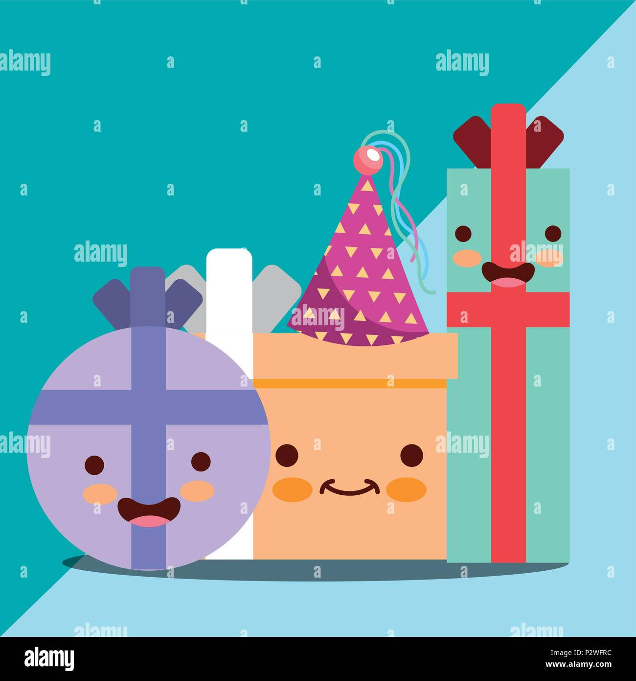 Kawaii Happy Gift Boxes Cartoon Characters Birthday Card Vector Illustration