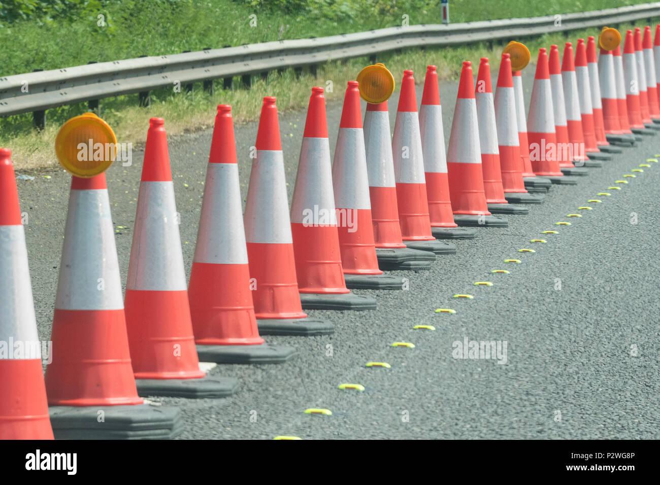 traffic cones - uk - Stock Image