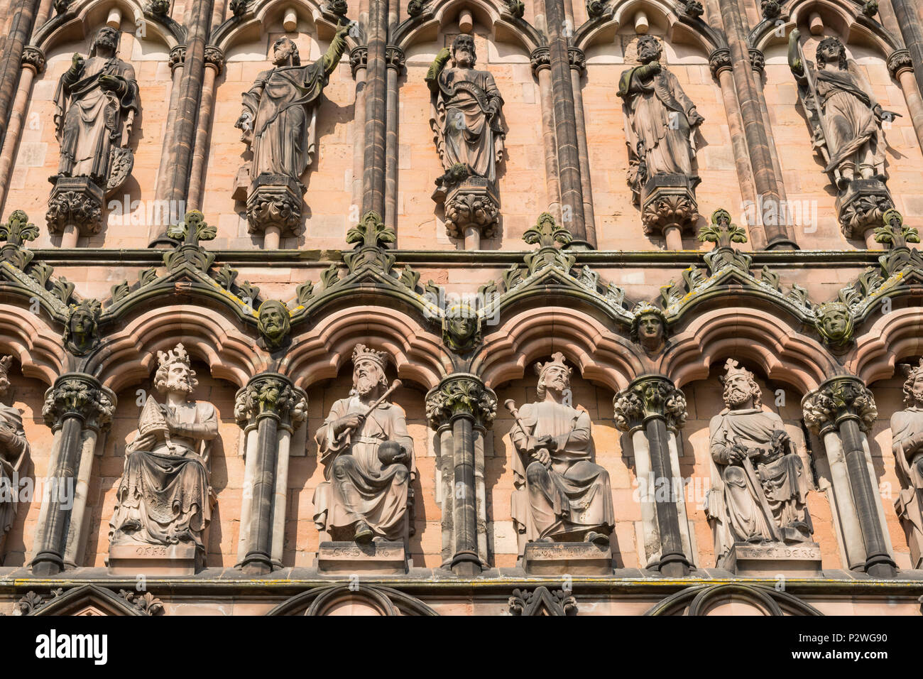 Lichfield Cathedral close up of carvings of Saxon Kings - from left to right -  Offa, Egbert, Ethelwolf, Ethelbert, - Stock Image