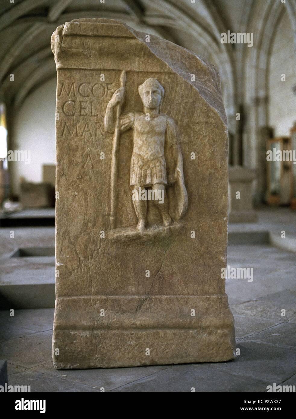 GUERRERO LUSITANO - ARTE ROMANO. Location: ARCHAEOLOGICAL MUSEUM, LISBOA, PORTUGAL. - Stock Image