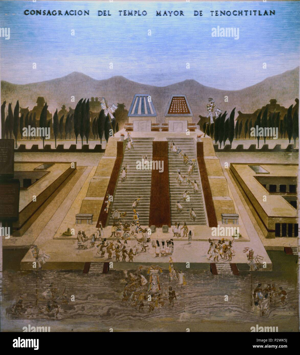 Drawing. Consecration of Tenochtitlan Great Temple. Mexico City, Museum of the City. Location: CITY MUSEUM, MEXICO CITY. Stock Photo