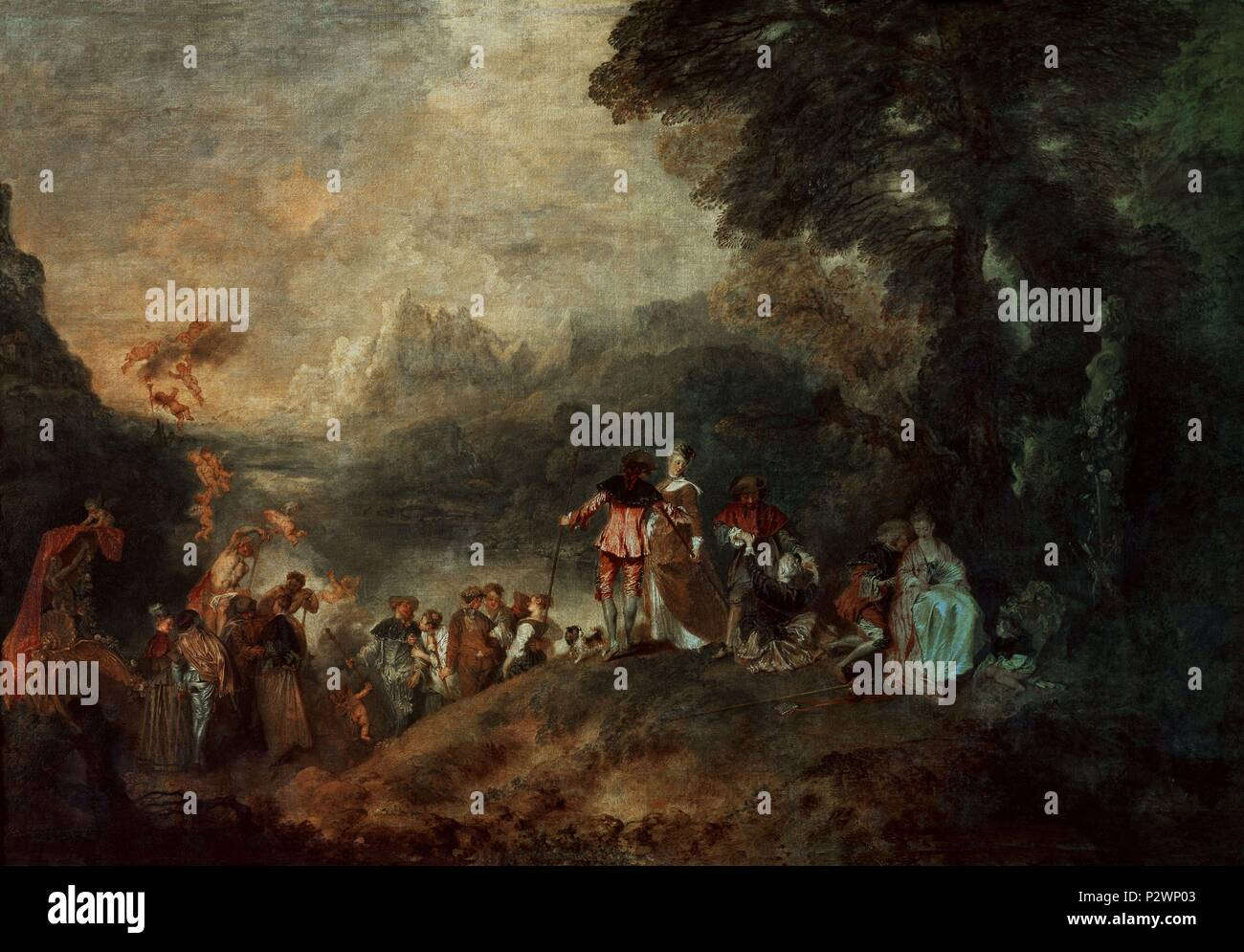 Embarkation for Cythera - 1717 - 129x194 cm - oil on canvas. Author: Jean Antoine Watteau (1684-1721). Location: LOUVRE MUSEUM-PAINTINGS, FRANCE. Also known as: PEREGRINAJE A LA ISLA DE CITEREA; LE PELERINAGE A L'ILE DE CYTHERE OU L'EMBARQUEMENT POUR CYTHERE. - Stock Image