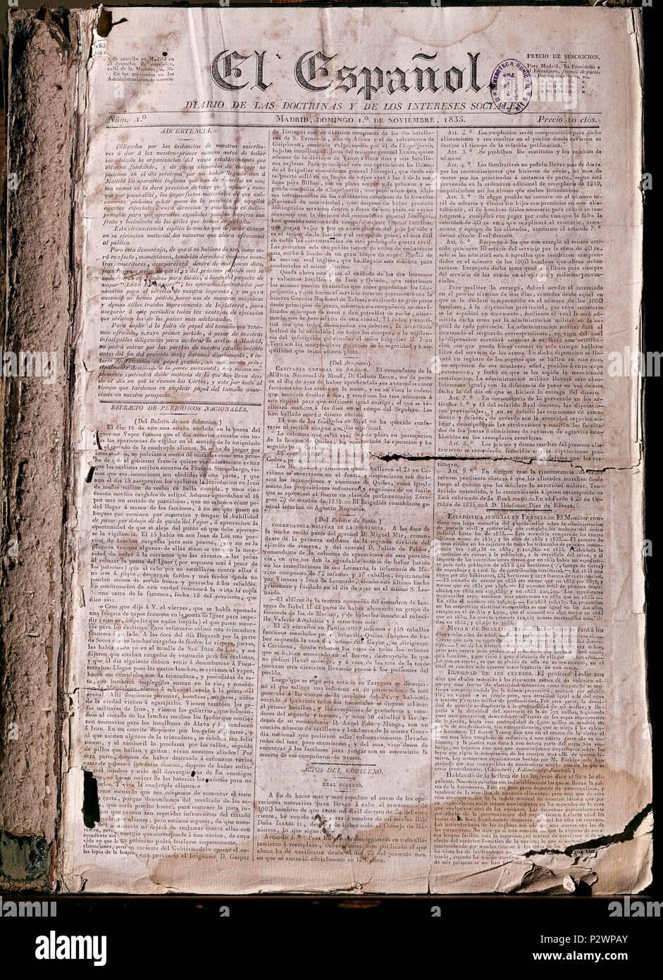 PERIODICO EL ESPANOL 1835. Location: HEMEROTECA MUNICIPAL, SPAIN. - Stock Image