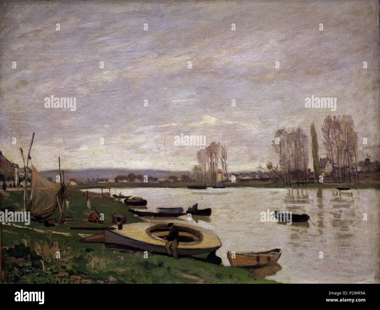 EL SENA EN ARGENTHEUIL 1872. Author: Alfred Sisley (1839-1899). Location: MUSEE D'ORSAY, FRANCE. - Stock Image