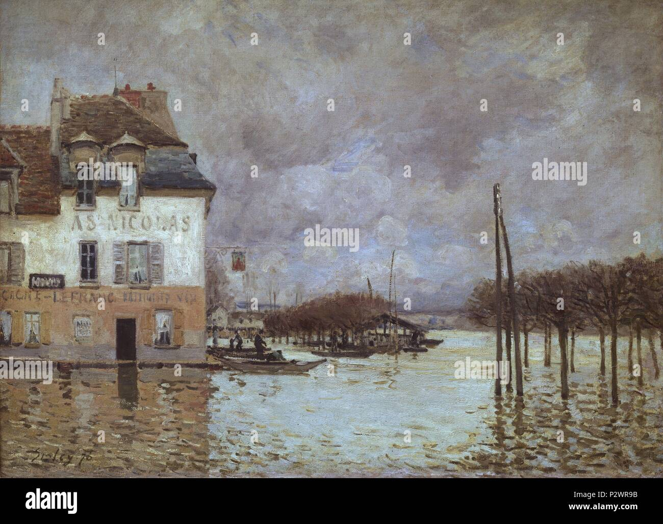 INUNDACION DE PORT MARLY. Author: Alfred Sisley (1839-1899). Location: MUSEE D'ORSAY, FRANCE. - Stock Image