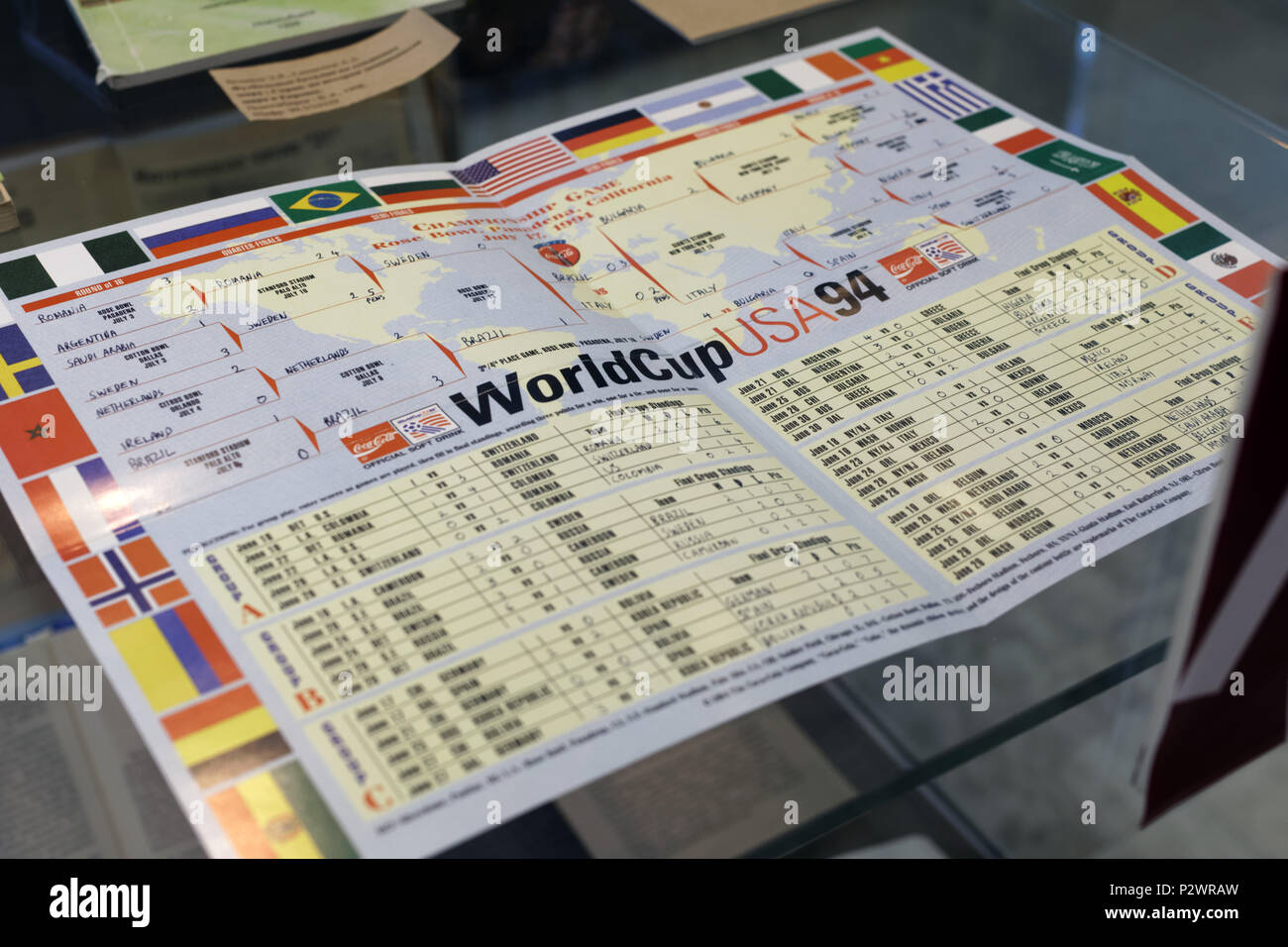 St. Petersburg, Russia - June 7, 2018: Schedule of FIFA World Cup USA 1994 in the exhibition 'Goal!!! FIFA World Cups history' in the National Library - Stock Image