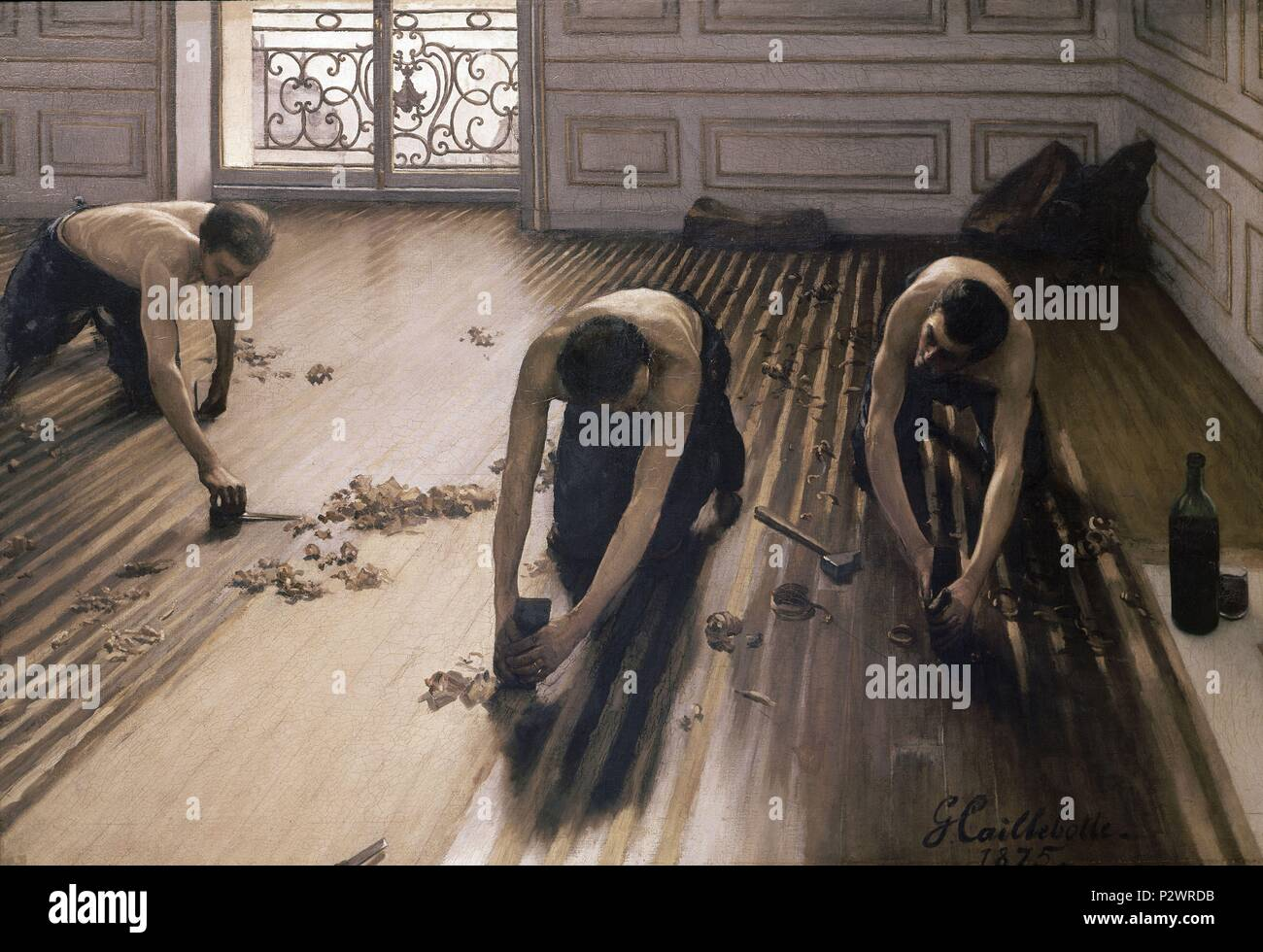 The Parquet Planers - 1875 - 102x146 cm - oil on canvas. Author: Gustave Caillebotte (1848-1894). Location: MUSEE D'ORSAY, FRANCE. Also known as: ACUCHILLADORES DE PARQUET. - Stock Image