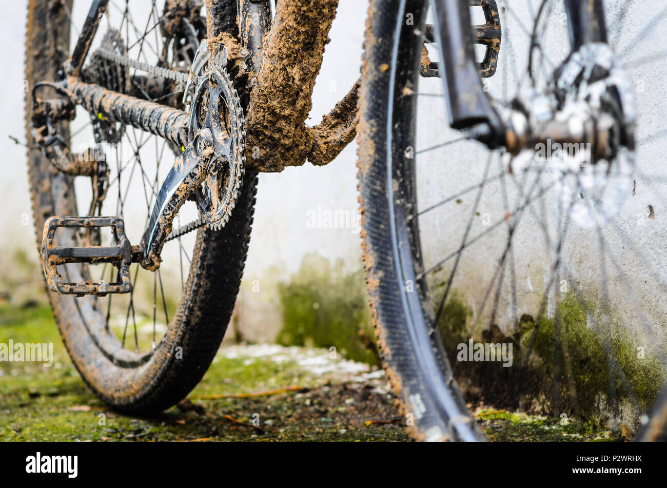 Dirty Transmission Of Mountain Bike After Riding In Bad Weather Stock Photo Alamy