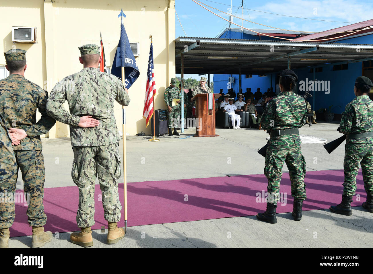 160801-N-DH124-064 DILI, Timor-Leste (Aug. 1, 2016) - Capt. Jeffrey Killian, commodore, 30th Naval Construction Regiment, speaks to service members from the U.S. Navy, U.S. Marine Corps and the Forsa Defesa Timor-Leste (F-FDTL) during the opening ceremony for Cooperation Afloat Readiness and Training (CARAT) Timor-Leste 2016 at the Port Hera Naval Base in Dili, Timor Leste. CARAT is a series of bilateral military exercises between the U.S. Navy and the armed forces of Bangladesh, Brunei, Timor-Leste, Indonesia, Malaysia, the Philippines, Singapore, and Cambodia that takes place annually.  (U.S Stock Photo