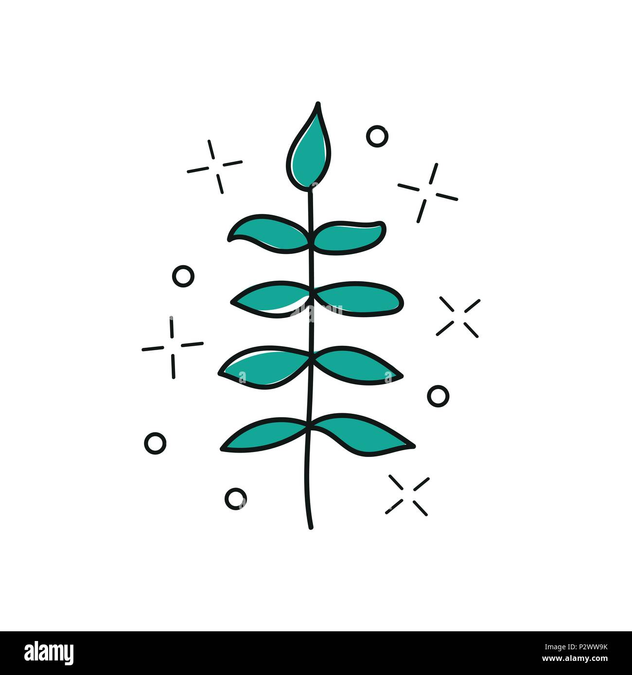 Vector hand drawn twig - stylized plant, brush strokes, design element, print - Stock Vector