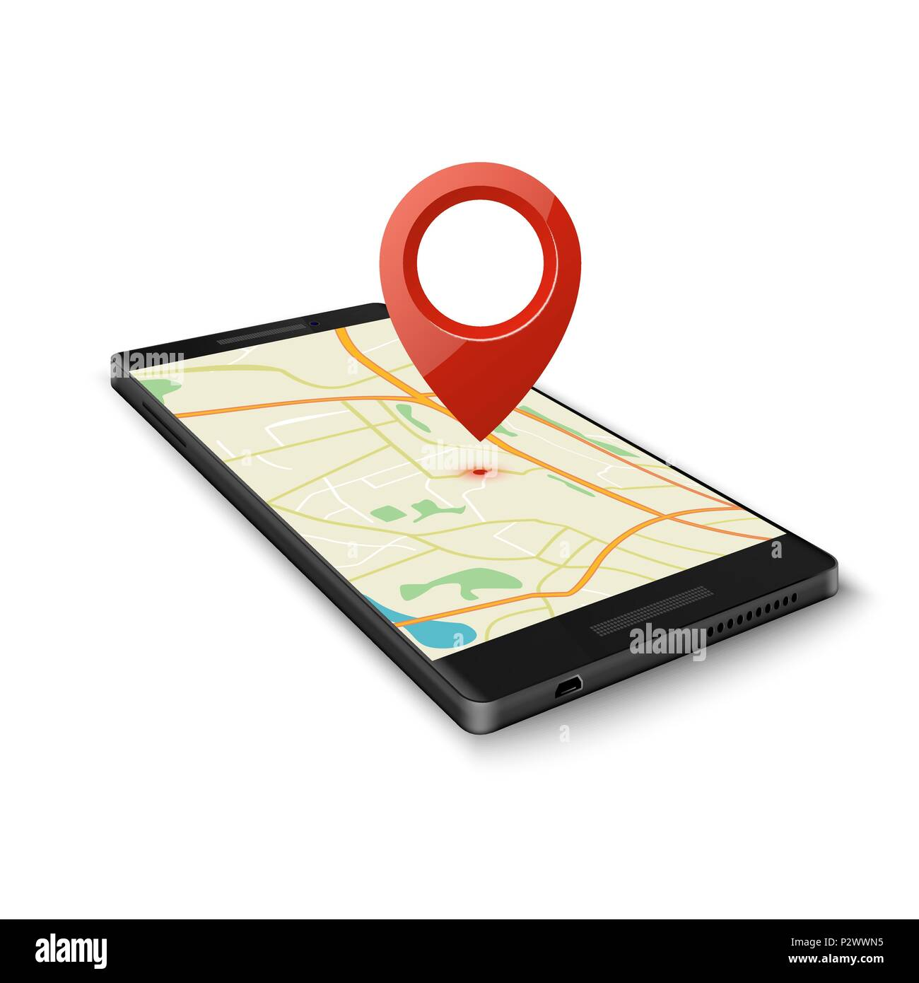Black smartphone with map gps navigation application with pin point to  current location isolated on white
