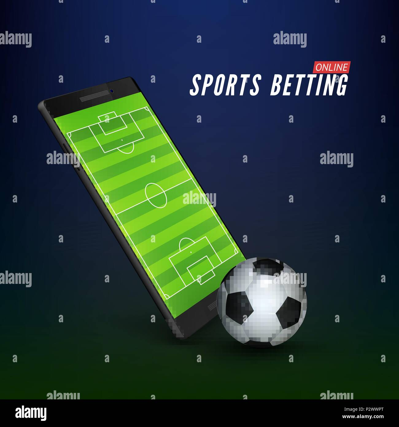 Sport betting online banner concept. app online bet on soccer. Mobile phone with soccer field on screen and realistik football ball in front. Vector i - Stock Vector