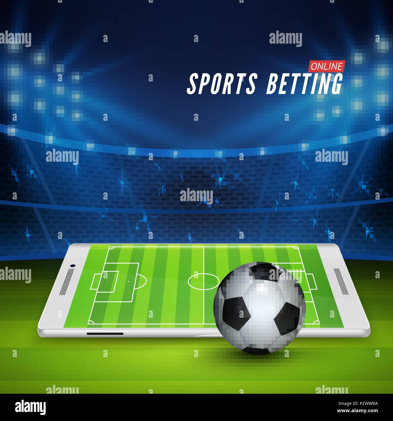Soccer bet online. Sports betting concept. Soccer stadium and white mobile phone with ball on foreground. Vector illustration - Stock Vector