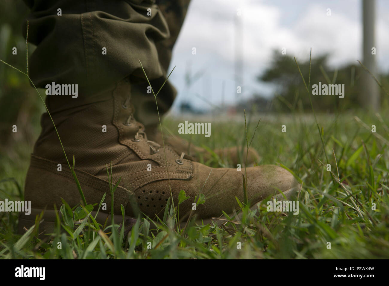 CAMP GONZALVES, OKINAWA, Japan -- Pictured is one of the boots being tested by the U.S. Marine Corps. Marines with India Company, 3rd Battalion, 3rd Marine Regiment flew from Hawaii to Okinawa, Japan to test the new boots and Marine Corps combat utility uniforms at the Jungle Warfare Training Center. The new boots and uniforms are able to dry faster and weigh less than the current uniforms. (U.S. Marine Corps photo by Cpl. Tyler Ngiraswei/ Released) - Stock Image