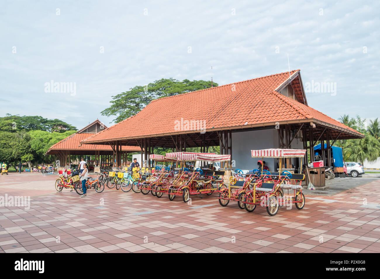 Kuala Lumpur, Malaysia - May 29,2018 : Bike rental for public in Titiwangsa Lake Gardens, it is a recreational park with a large lake. - Stock Image