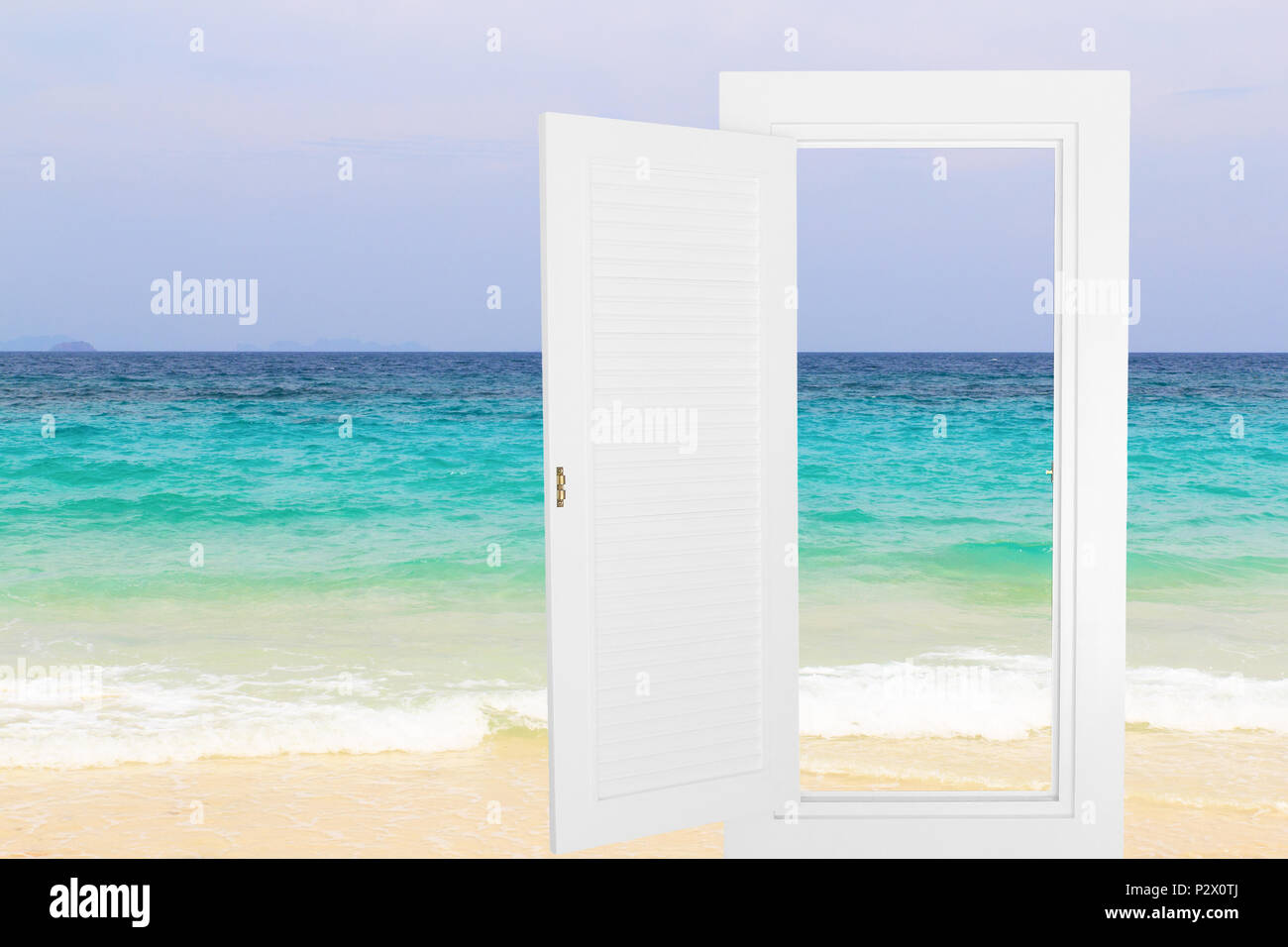 White window open frame with beach, horizontal landscape idea concept background. Stock Photo