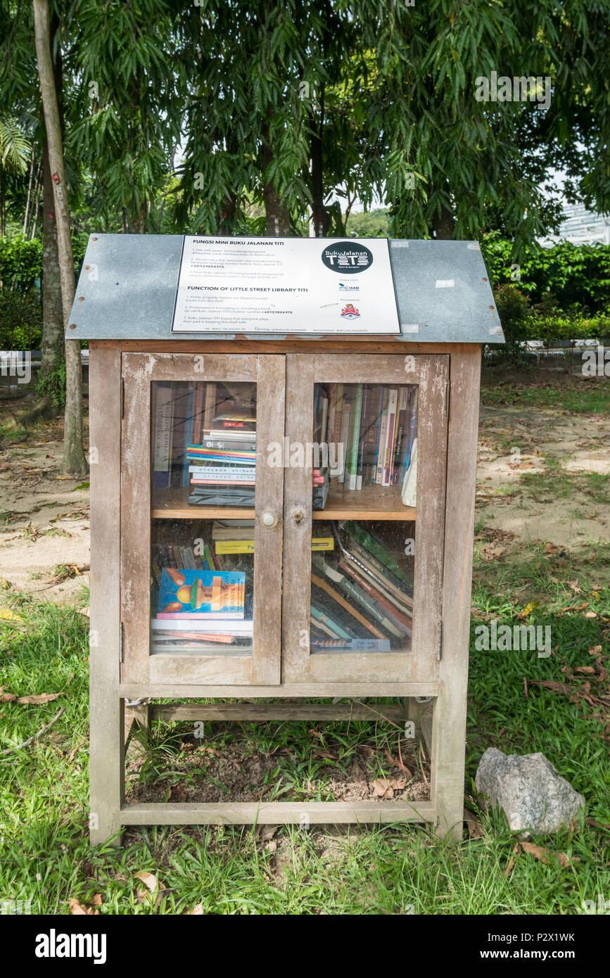 Kuala Lumpur, Malaysia - May 29,2018 : Little street library Titi shelf located at Titiwangsa Lake Gardens. - Stock Image