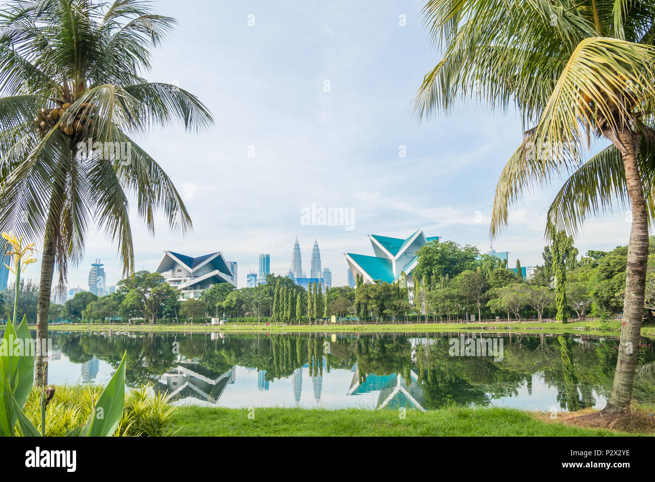 Beautiful morning view of the Kuala Lumpur skyline at Titwangsa Lake Gardens. - Stock Image