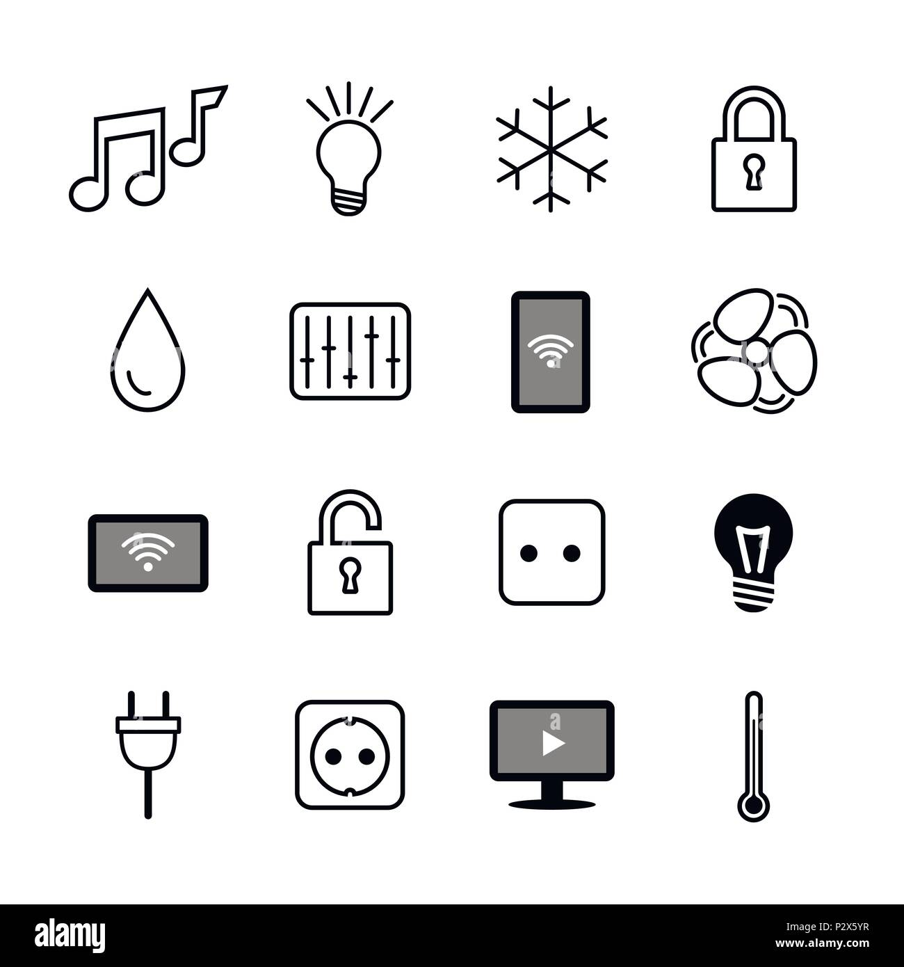 Set of icons. Internet of things. Smart house.Smart home Stock Vector