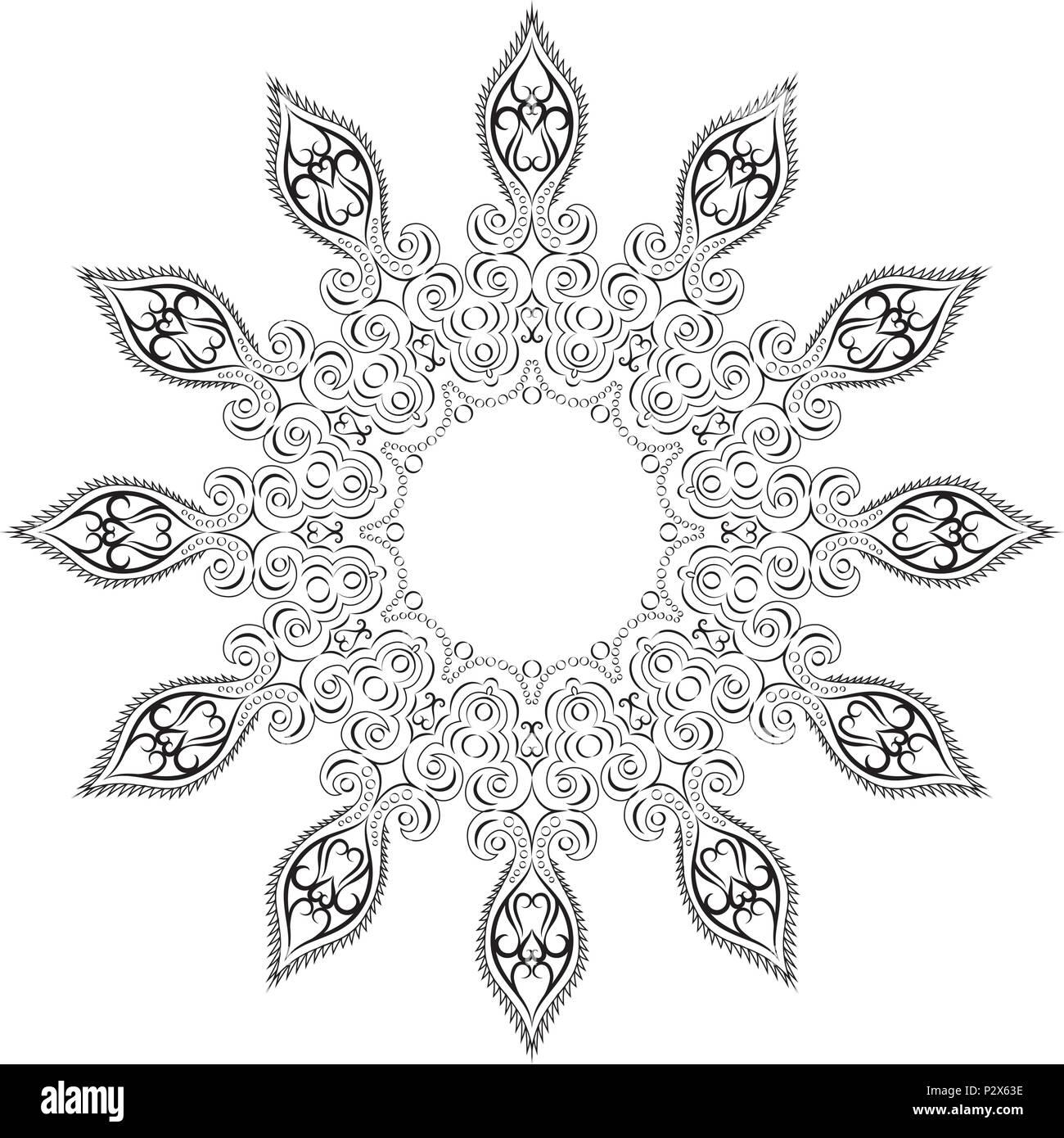 Mandala, tribal ethnic ornament, vector art - Stock Image