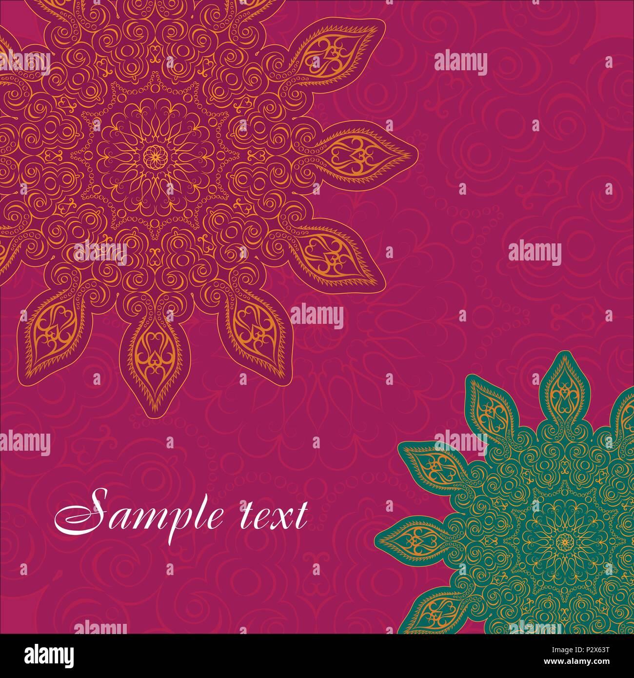 Mandala background, tribal ethnic ornament, vector art - Stock Image