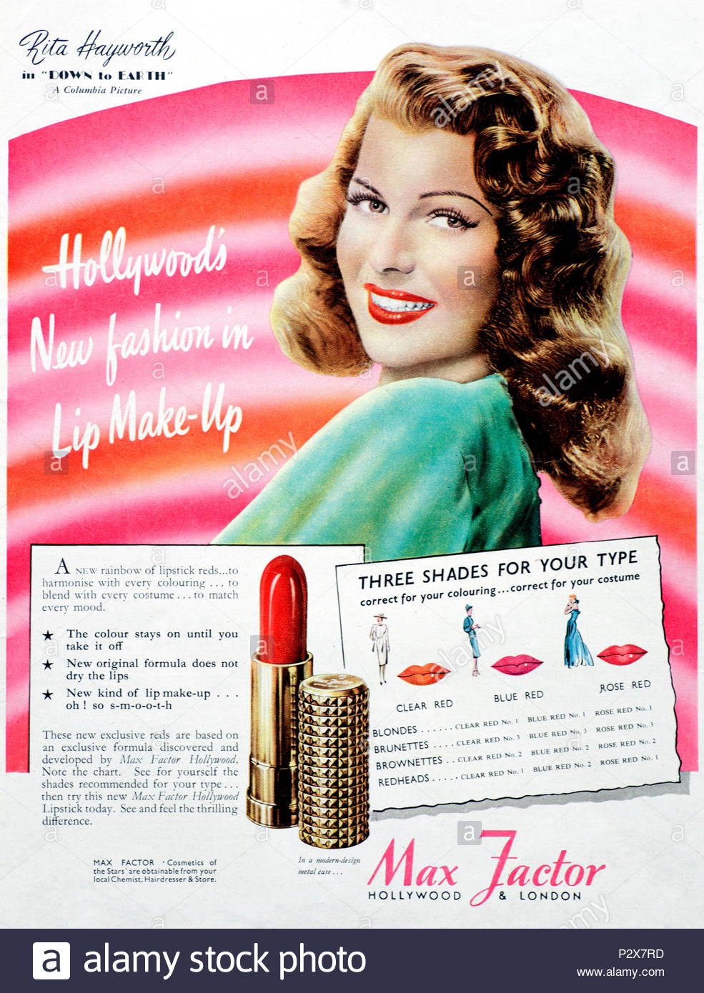 Vintage advertising for Max Factor lipstick promoted by movie star Rita Hayworth from 1947 - Stock Image