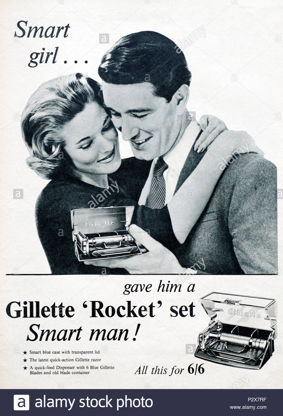 Vintage advertising for Gillette Rocket Set from 1956 - Stock Image