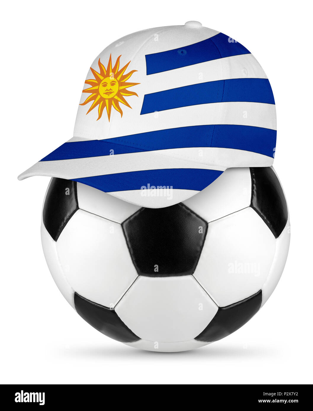 89ef03c7674 Classic black white leather soccer ball uruguay uruguayan flag baseball fan  cap isolated background sport football
