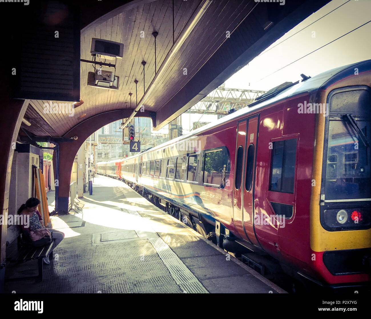 East Midlands Train leaving Manchester Oxford Road Railway Station, North West England, UK - Stock Image