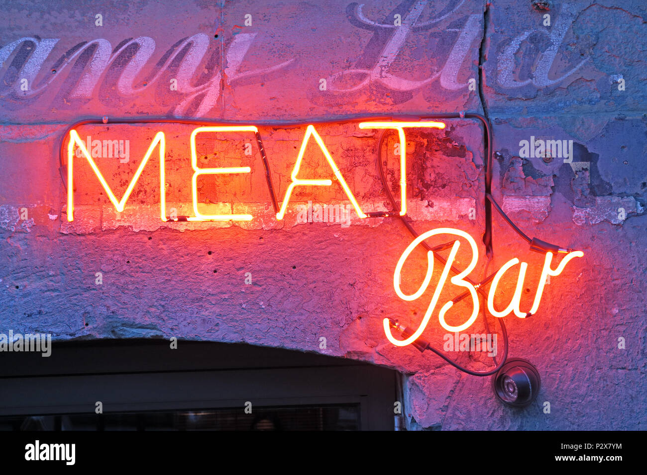 Meat bar sign, Glasgow, 142 West Regent Street Glasgow, Scotland, UK, G2 2RQ - Stock Image