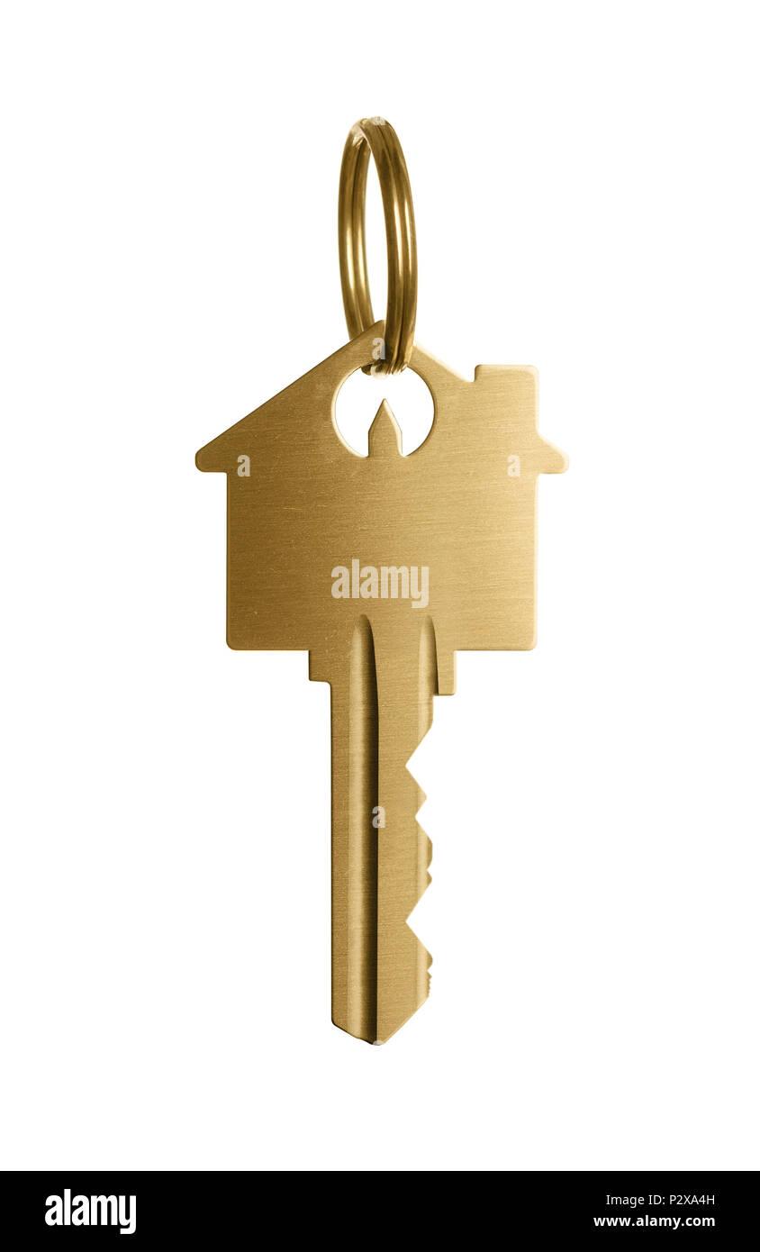 gold house key. Gold House Key Isolated On White Background - Stock Image