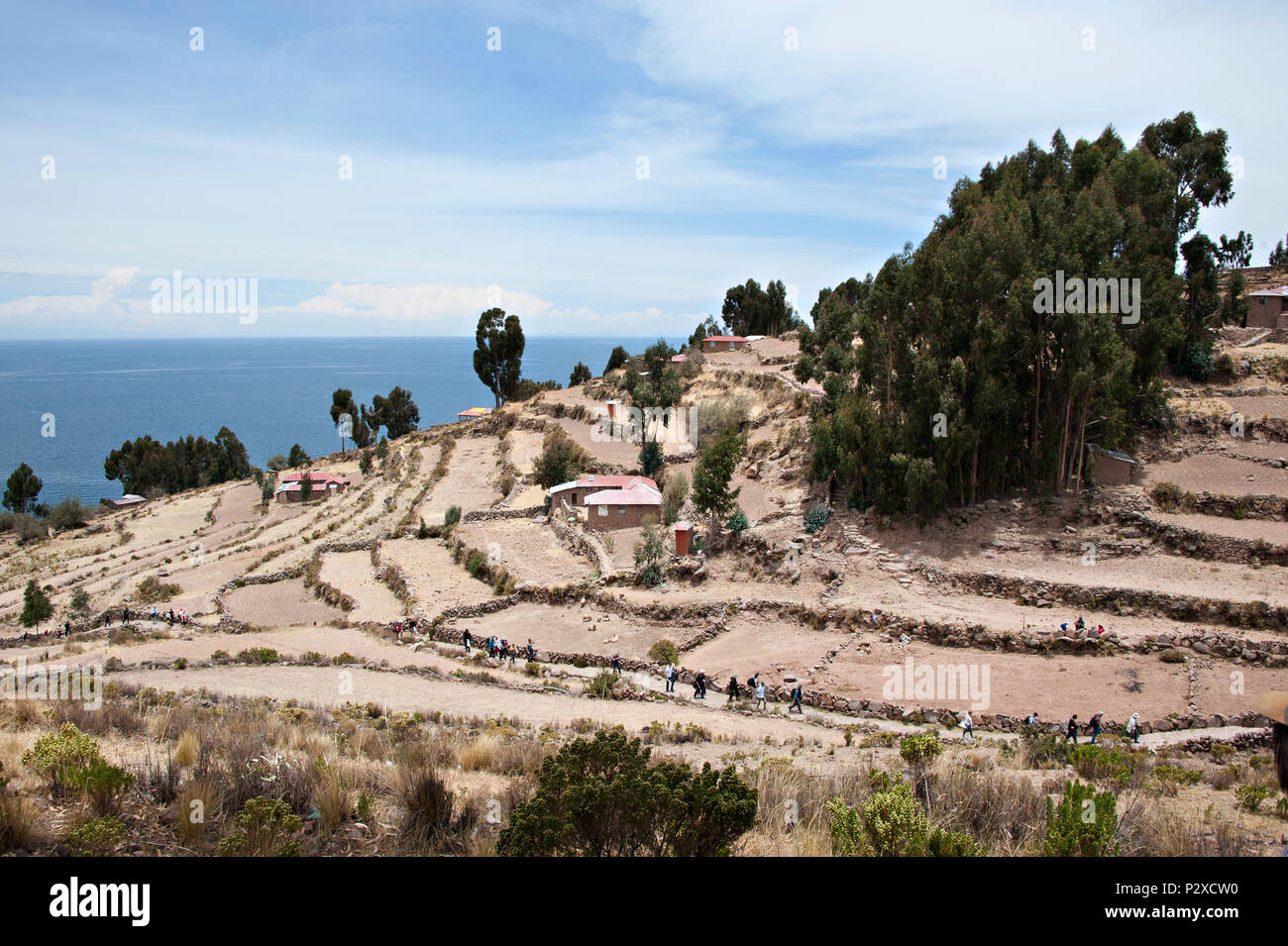 The public path leads to the village at the very top of the hill on Taquile Island, Puno, Peru, South America Stock Photo