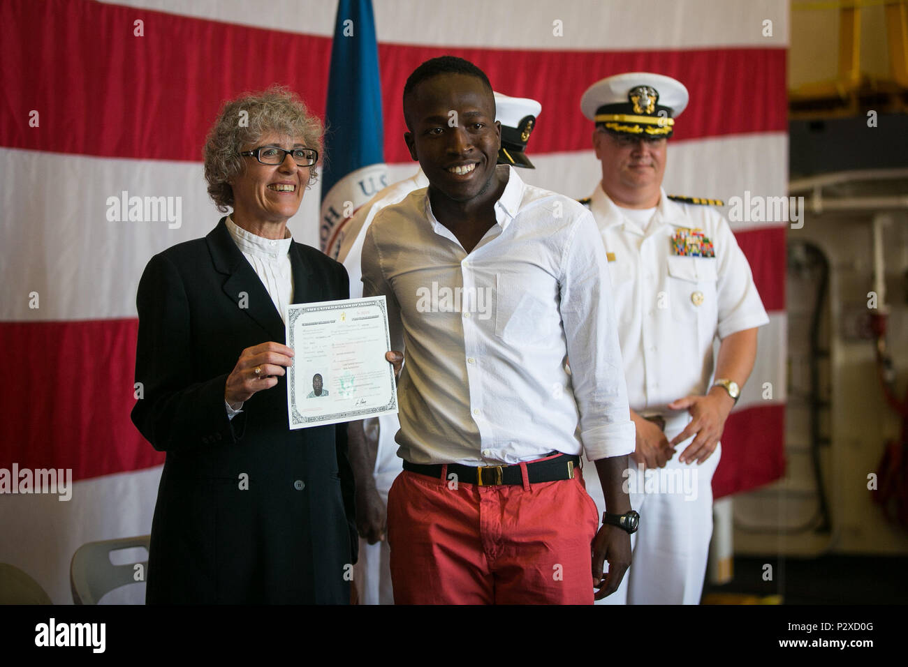 Us Army Pvt Larry Toussaint Receives His Naturalization
