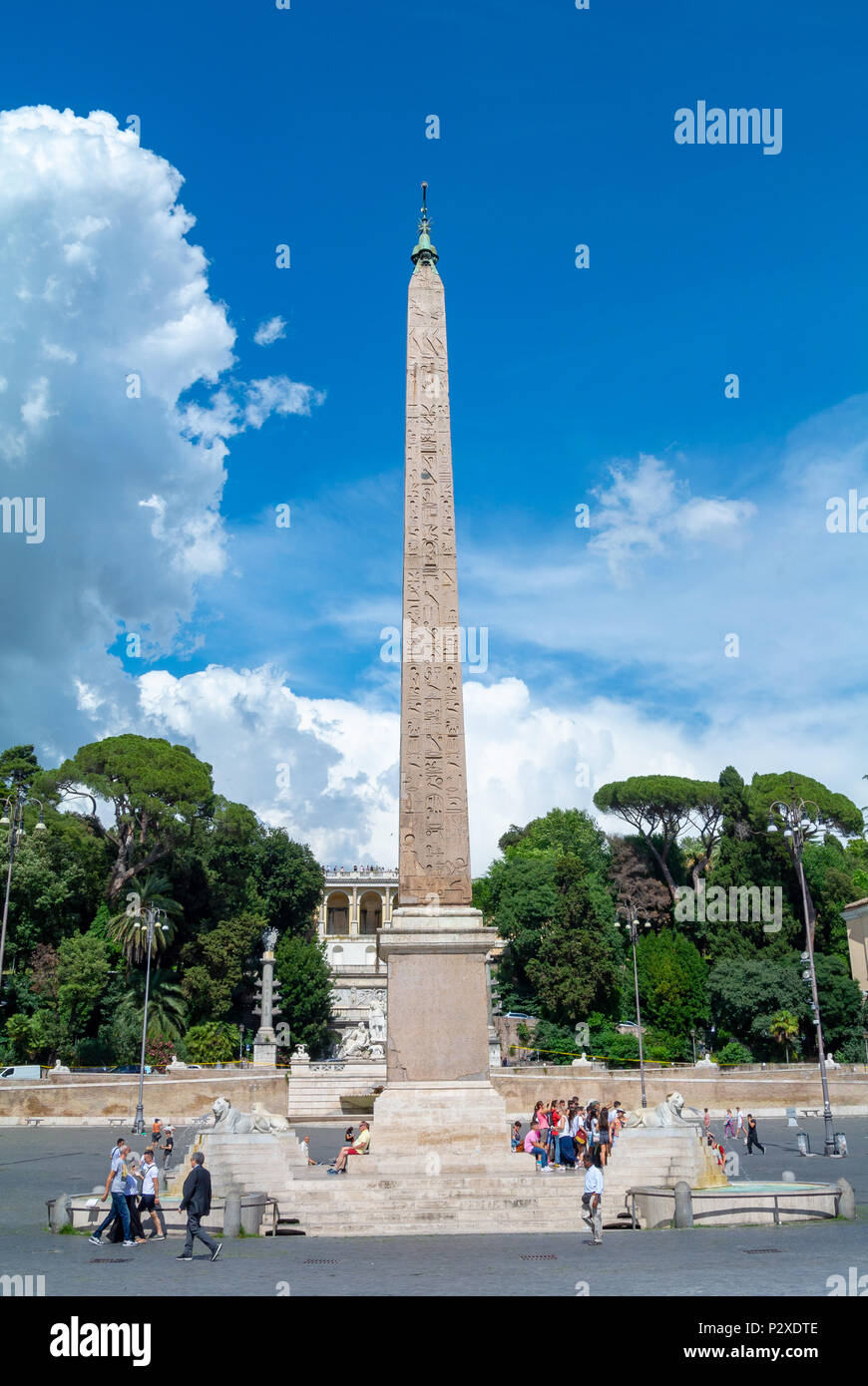 Rome, Italy, Europe, Tourists by Egyptian Obelisk in Piazza del Popolo - Stock Image