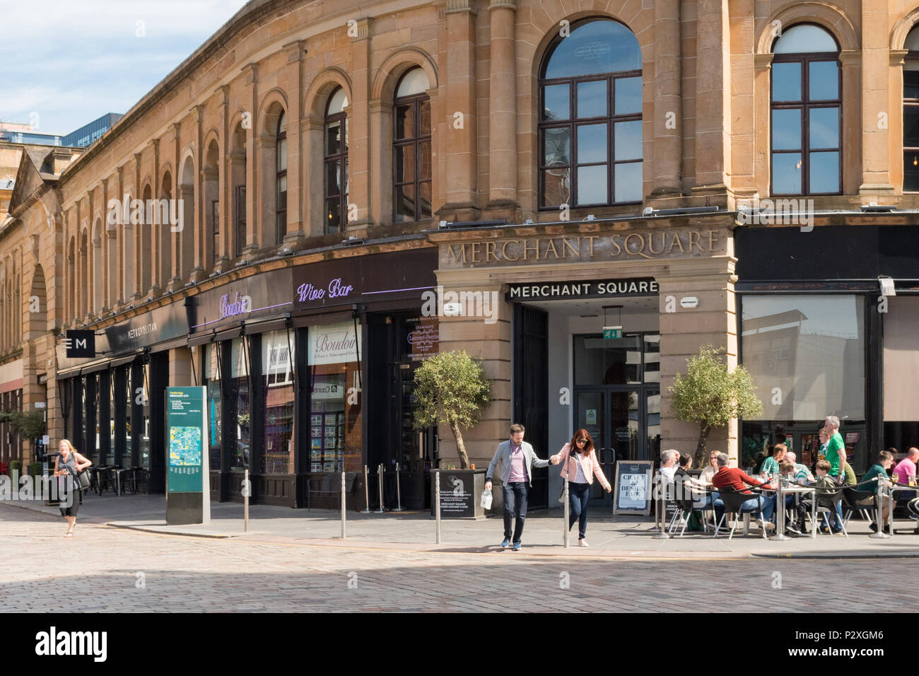 Merchant Square, a hub of independent bars and restaurants in the Merchant City, Glasgow, Scotland, UK - Stock Image
