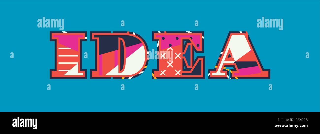 The word IDEA concept written in colorful abstract typography. Vector EPS 10 available. - Stock Vector